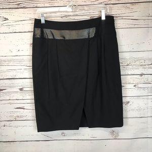Poleci Anthropologie Leather Trim black skirt 8